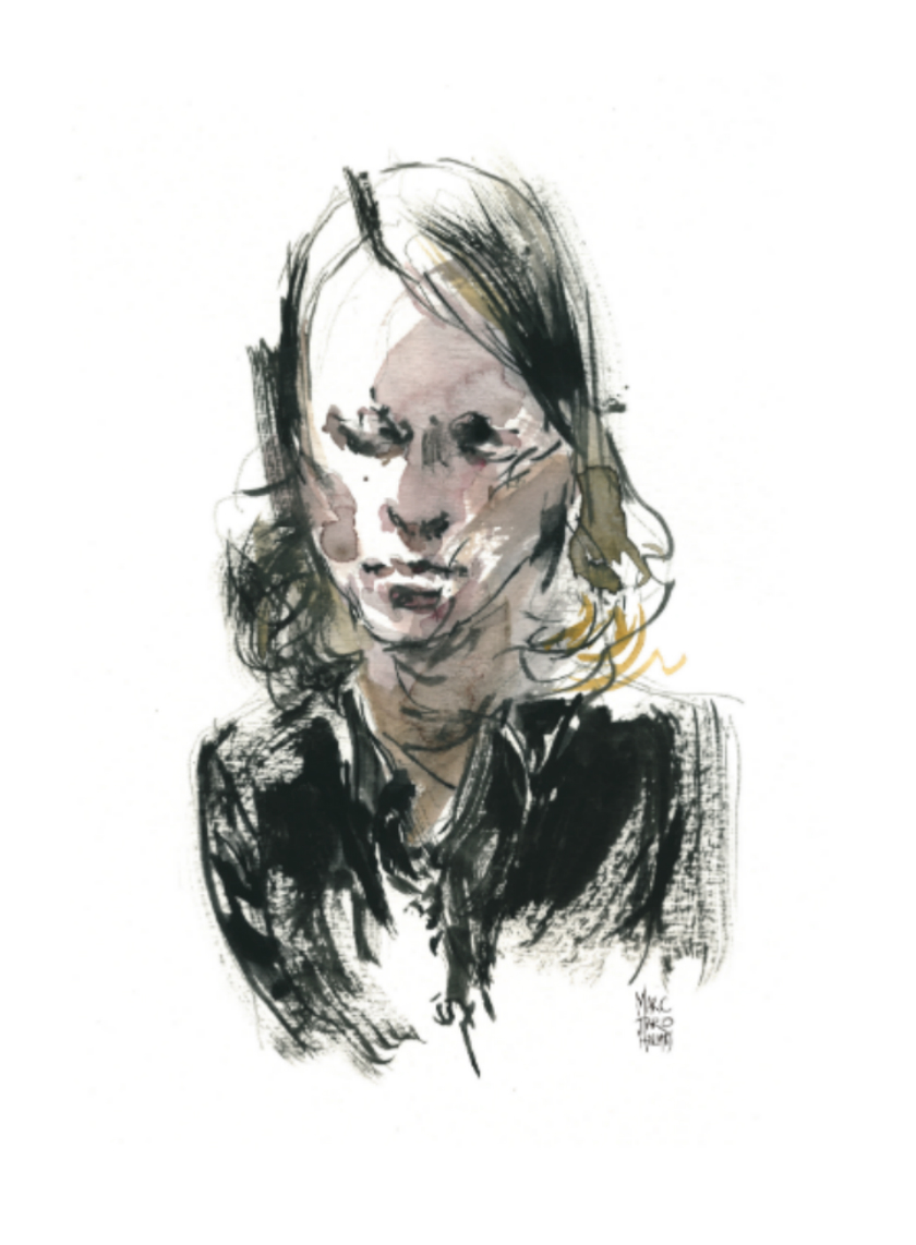 Sketch of Beverley Cooper by Marc Taro Holmes, part of his  Innocence Lost Production Diary