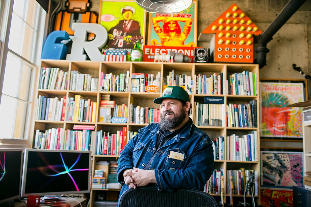 Portrait of Aaron Draplin by Leah Nash for The New York Times