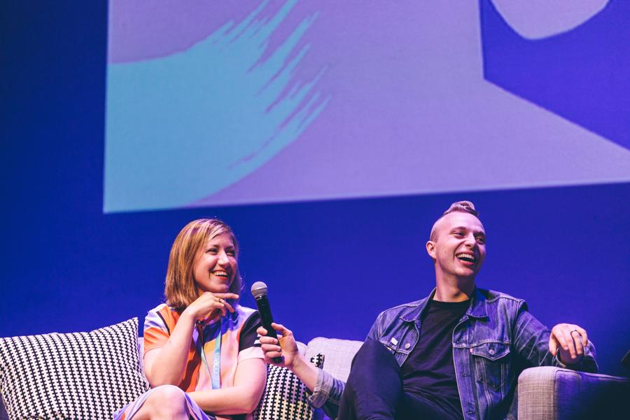 Here's Jessica and I laughing together at the Design Conference in Brisbane, Australia after I totally told a hilarious joke.