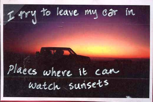 PostSecret Car Sunset
