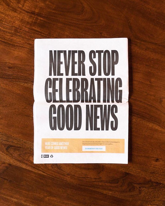 Only about 24 hours left in our huge #Goodnewspaper sale! We're celebrating reaching 10,000 followers with good news on our @goodgoodgoodco Instagram. ⠀⠀⠀⠀⠀⠀⠀⠀⠀ We're offering subscriptions for the next year of the Goodnewspaper for only $35! Plus, we're donating $5 from each new subscription to support the incredible non-profit @preemptivelove. ⠀⠀⠀⠀⠀⠀⠀⠀⠀ Check out the link in my bio and make sure to follow @goodgoodgoodco for good news and hopeful stories in your feed. ❤️