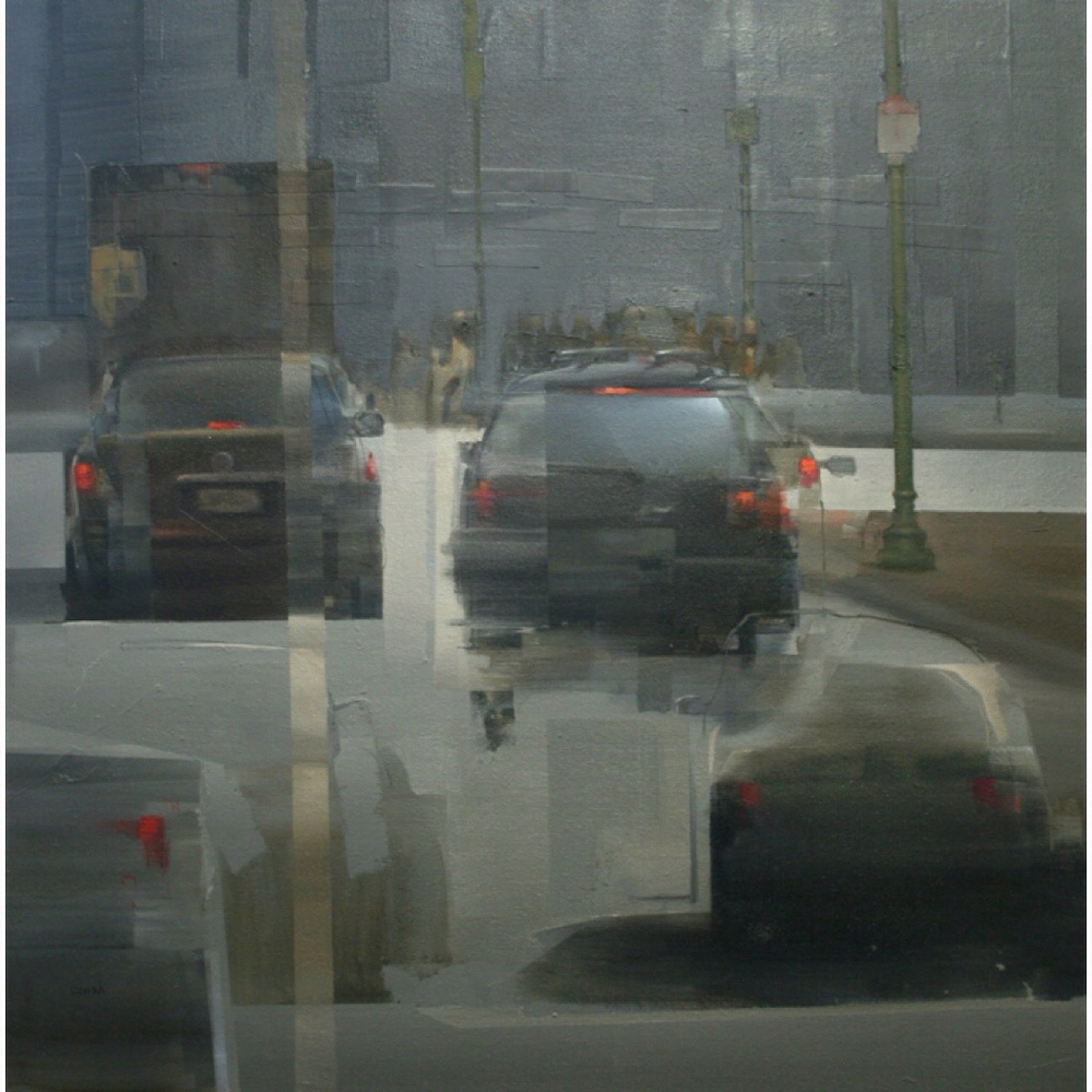 Dos Cars, 24x24in, Oil and Mixed Media on Canvas, 2014.