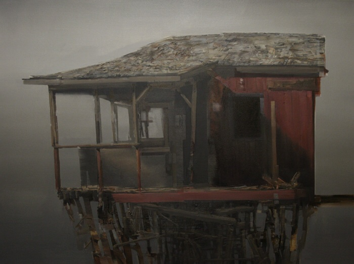 Bodega Bay Estructura, 30x40in, Oil and Mixed Media on Canvas, 2014.