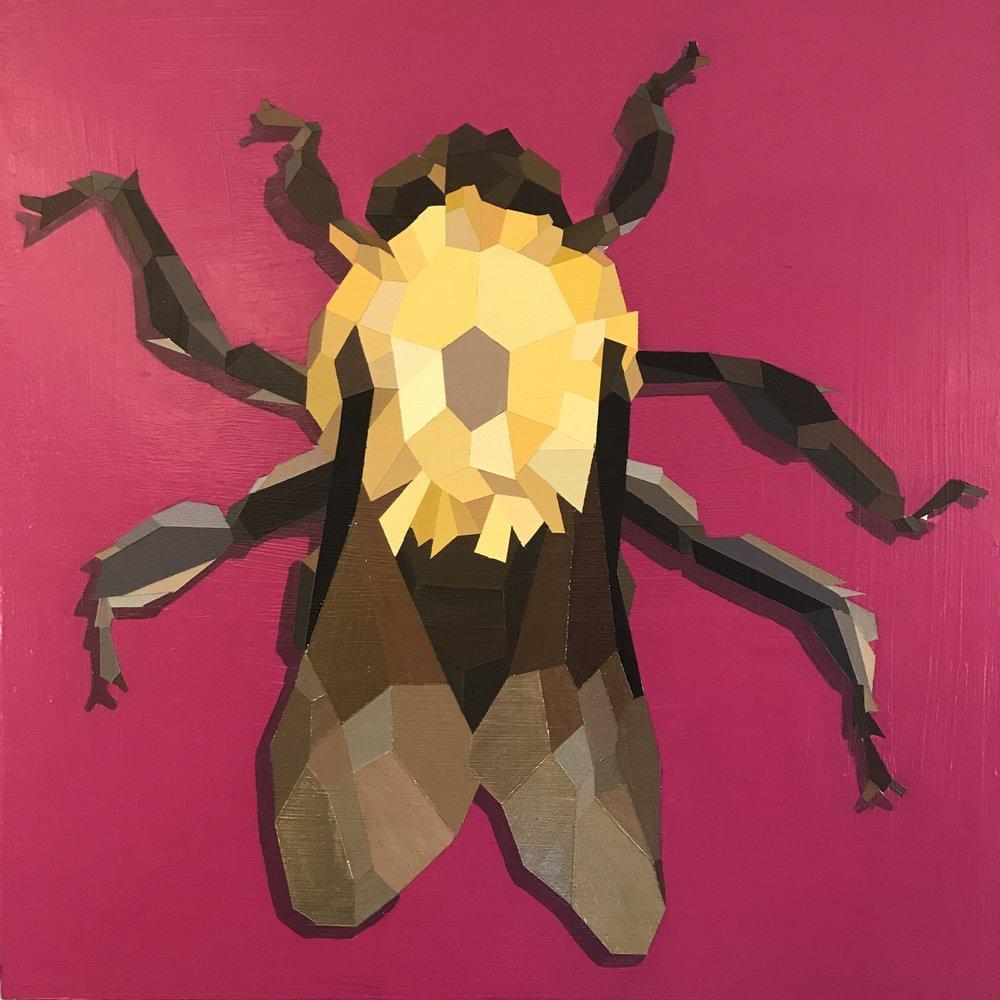 """Common Eastern Bumble Bee - 18""""x18"""" acrylic - $600"""
