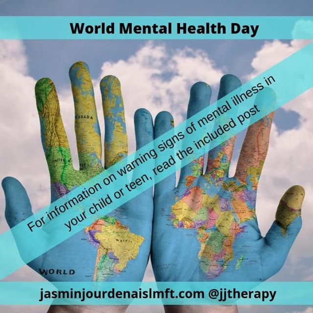 #WMHD Warning Signs: - Feeling very sad or withdrawn for more than 2 weeks (e.g. crying regularly, feeling fatigued, feeling unmotivated); - Trying to harm or kill oneself or making plans to do so; - Out-of-control, risk-taking behaviors that can cause harm to self or others; - Sudden overwhelming fear for no reason, sometimes with a racing heart, physical discomfort or fast breathing; - Not eating, throwing up or using laxatives to lose weight, significant weight loss or gain; - Severe mood swings that cause problems in relationships; - Repeated use of drugs or alcohol; - Drastic changes in behavior, personality, or sleeping habits (e.g. waking up early and acting agitated); - Extreme difficulty in concentrating or staying still that can lead to failure in school; -Intense worries or fears that get in the way of daily activities like hanging out with friends or going to classes. #mentalwellness #counseling #therapy #therapist #childtherapy #teentherapy #parenting #momlife #dadlife #teenlife #kidlife #family #monterey #jjtherapy #mhawareness