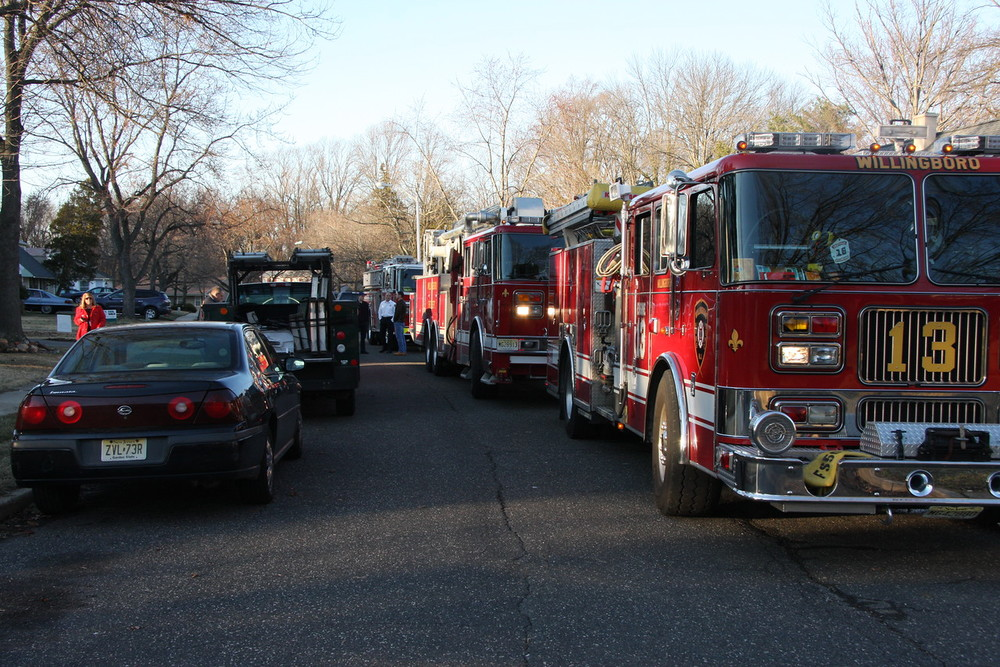 Fire trucks lined the street and gave the Marandola's a grand arrival
