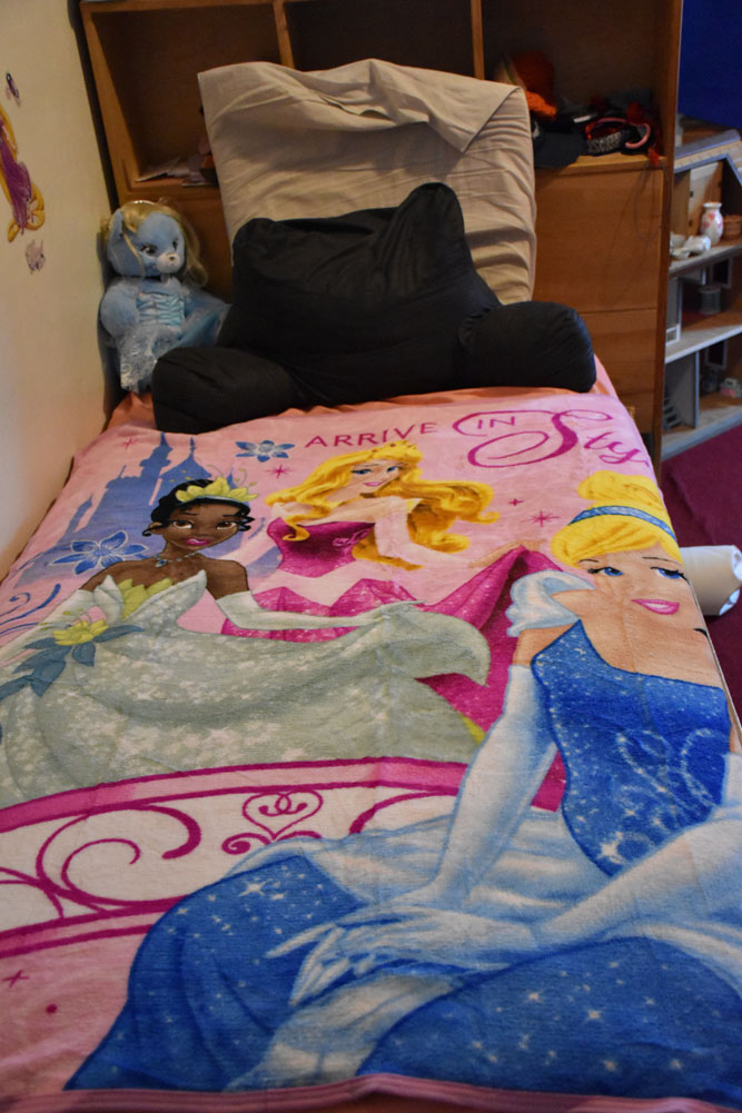 and a soft new blanket with his favorite princess -- Cinderella