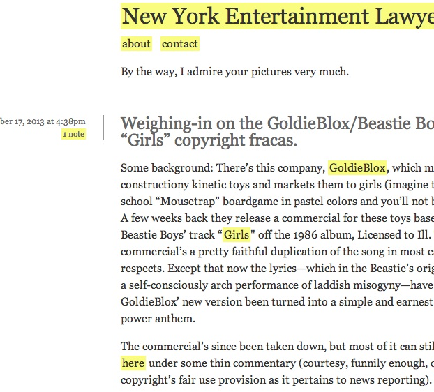 New York Entertainment Lawyer Blog
