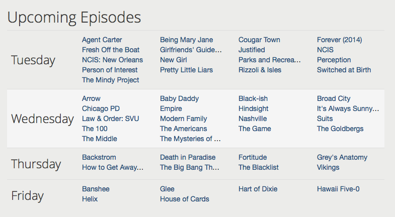 They even have a schedule for upcoming episodes, anticipating the exasperating memory failure you're bound to have.