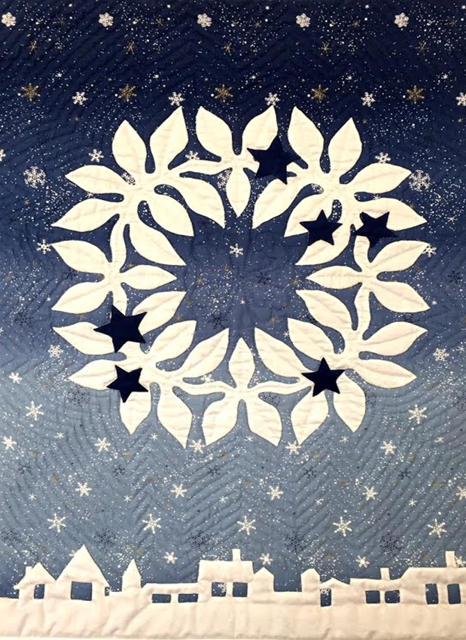 "#1 - meg maeda - feb 6 tuesday one day class - ""SILENT NIGHT"" HAwaiian style wall quilt"