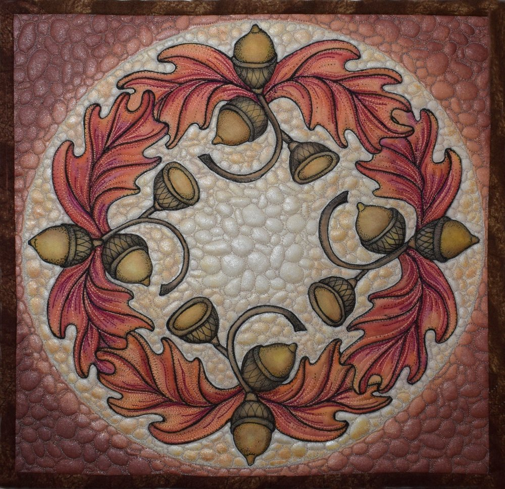 "#3 - linda poole - feb 6 tuesday one day class - ""acorn wreath"" Painting with Ink Pencils and More"