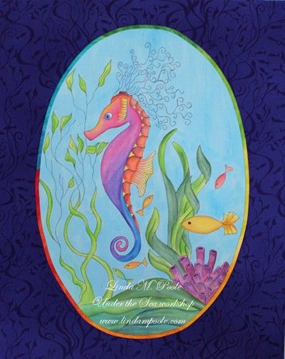 "#9 - LINDA POOLE - ONE DAY CLASS FEB 8 THURSDAY - ""UNDER THE SEA"" PAINTING WITH INK PENCILS AND MORE"