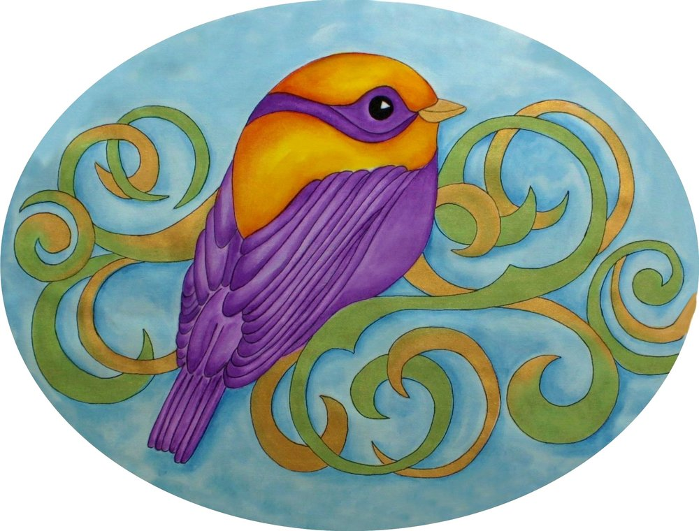 "#13 - LINDA POOLE - ONE DAY CLASS FEB 10 SATURDAY - ""FEATHERED FRIEND"" - PAINTING WITH INK PENCILS, TEXTILE ACRYLIC PAINTS & MORE"