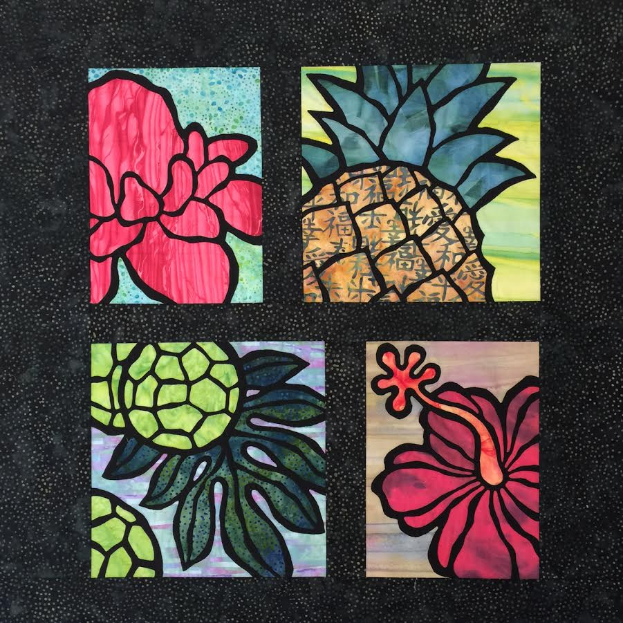 "#17 - MEG MAEDA TWO DAY FEB 7-8 WED THURS - ""STAINED GLASS HAWAIIAN SAMPLER"" WALL QUILT"