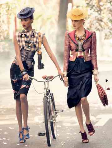 Models, Bike, Bicycle, Fashion, Pencil Skirt, Stephen Meisel