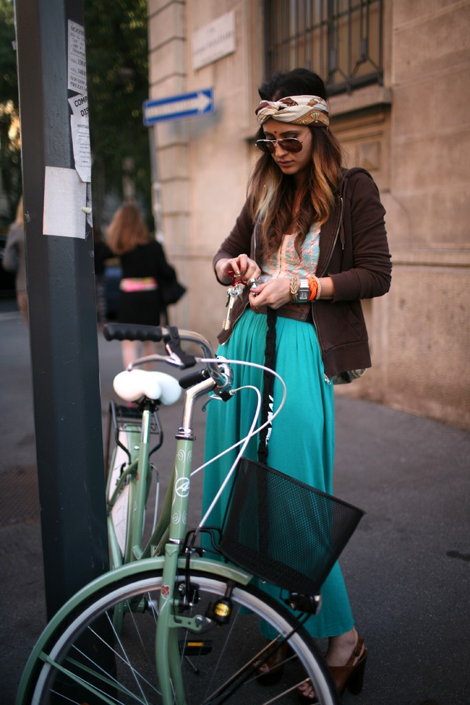 turban, palazzo pants, turquoise, cruiser, fashion, Milan