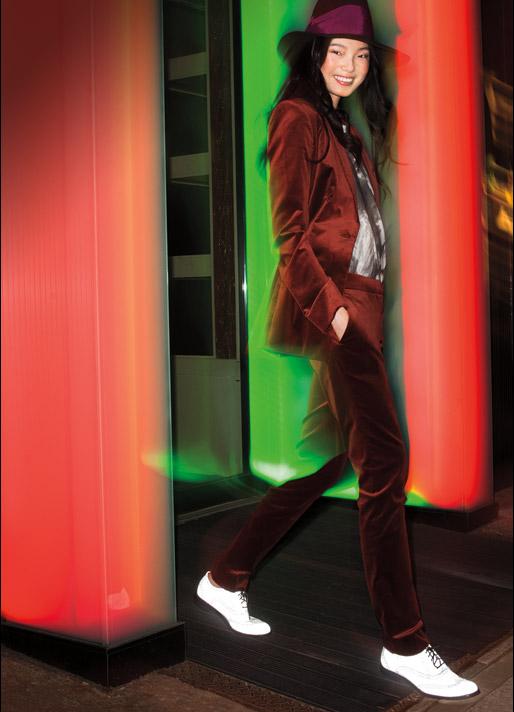 Oxblood velvet suit, model, nighttime, fedora, safety
