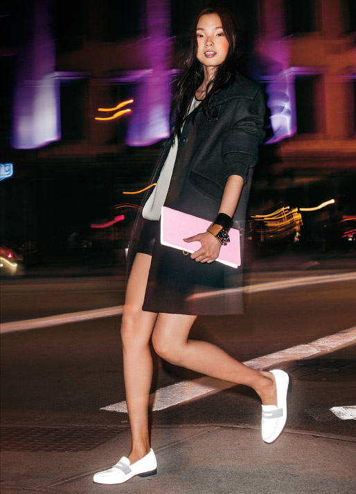 Clutch, model, nighttime, safety, penny loafers