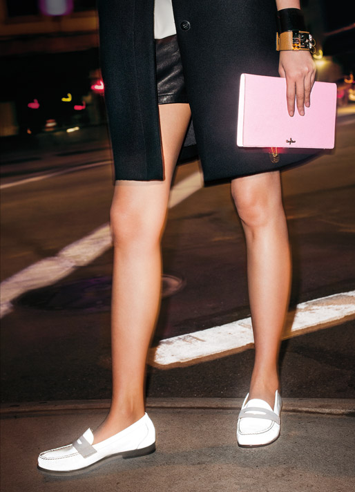 Clutch, model, nighttime, safety, penny loafers, gold cuff, street