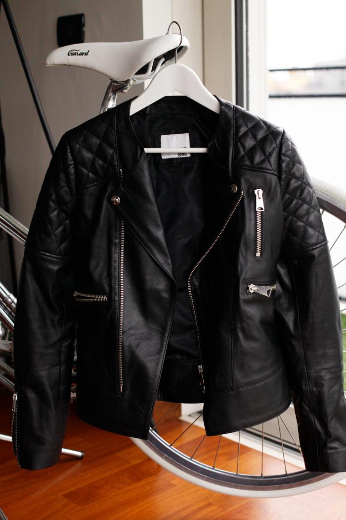 leather jacket, black leather, step through bike, blonde salad, clothes hanger