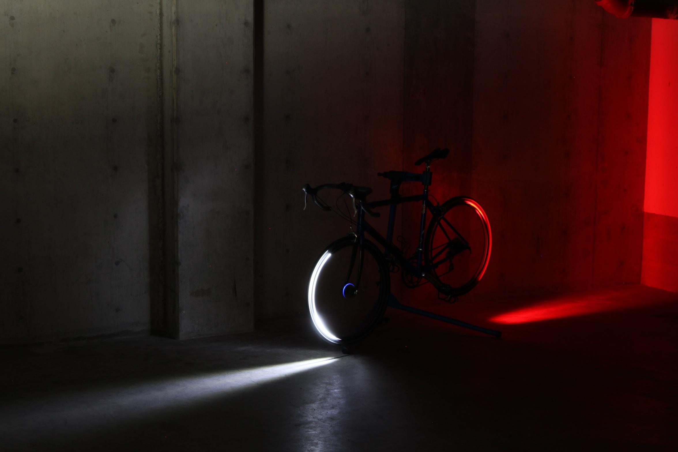 bike, bicycle, tron bike, bicycle lights, bike lights, revolights, red light, white light, shadow