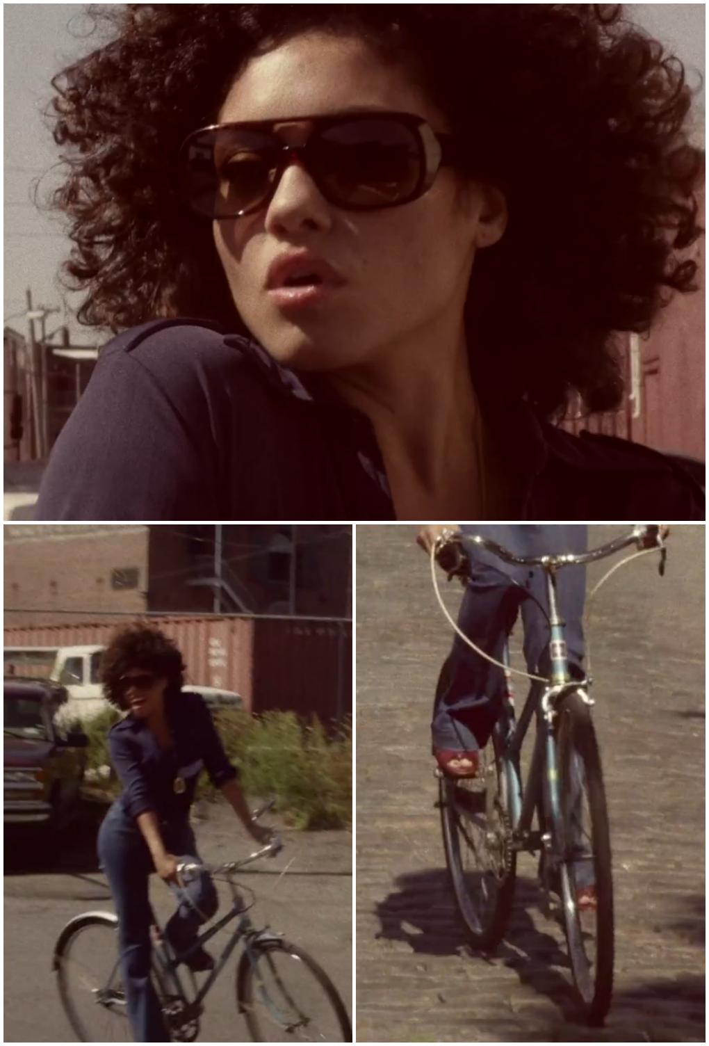 vintage style, flare jeans, Seafarer, Colette, bell bottom, denim, Garance Dore, navy, dungarees, brooklyn, vintage bike, bicycle, afro, cute girl, girl on bike, model on bike, seventies