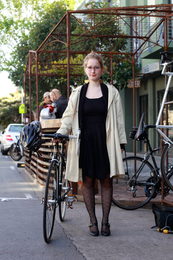girl, bike, bike girl, dress bike, polka dot