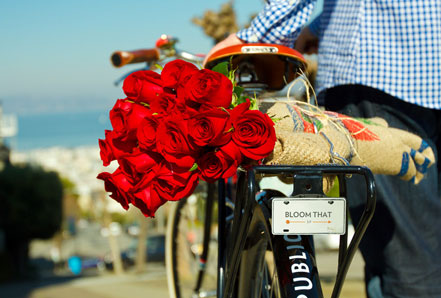 bikepretty, bike pretty, cycle style, cycle chic, bike model, bike fashion, cute bike, flower delivery, san francisco, bike messenger, bike delivery, flowers, valentines flowers, roses