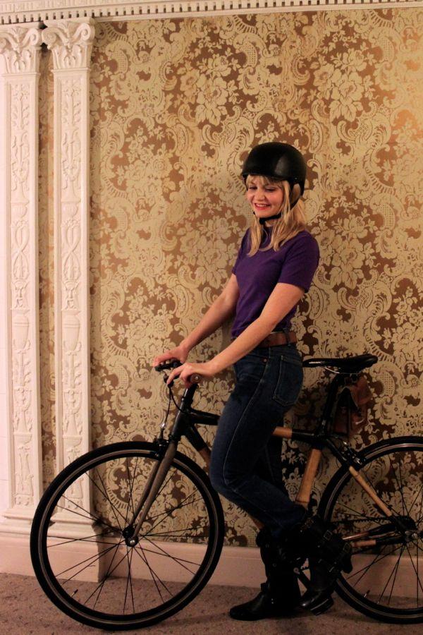 bikepretty, bike pretty, cycle style, cycle chic, bike model, girl on bike, bike fashion, cute bike, biking in heels, makeup, laura mercier, lena chavez, bamboo bike, gold wallpaper, bike helmet