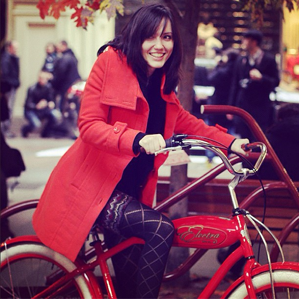 bikepretty, bike pretty, cycle style, cycle chic, bike model, bike fashion, cute bike, electra, red, biking in wedges, instagram, girl and a bike, red coat, tights, instagram