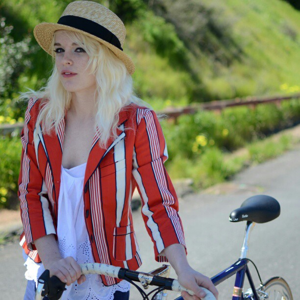 bikepretty, bike pretty, cycle style, cycle chic, bike model, girl on bike, bike fashion, cute bike, vintage, striped jacker, boater, straw hat, bicycle, bernal