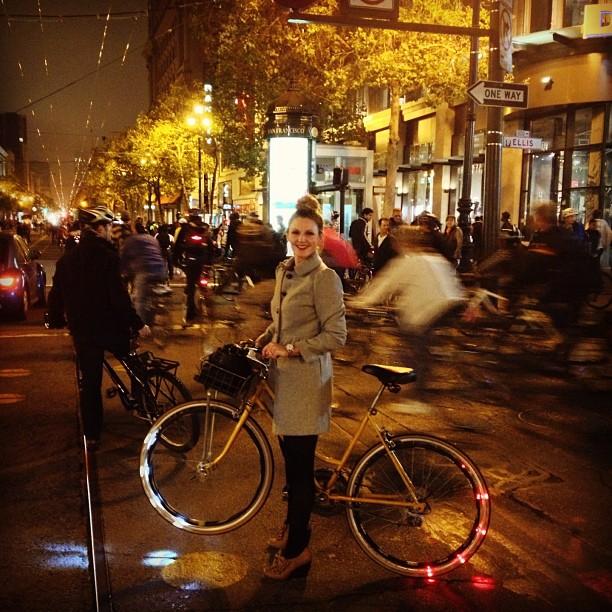 bikepretty, bike pretty, cycle style, cycle chic, bike model, girl on bike, bike fashion, cute bike, biking in heels, critical mass, revolights, revosighting, revolight, bike light, bike lights, sale, valentines