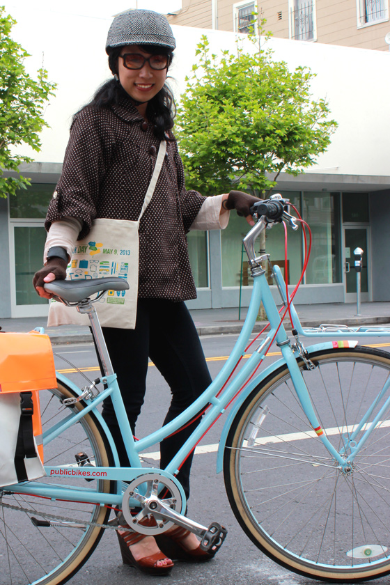 bike pretty, bikepretty, pretty bike, girls on bikes, outfit ideas, cycle style, fashion bike, bike fashion, bike chic, bike style, girl on bike, cycle chic, bike to work, bike to work day, san francisco, street style, cool bike helmets, yakkay, public bikes, biking in wedges, blue bike, blue strep through, denise, cute bike girl