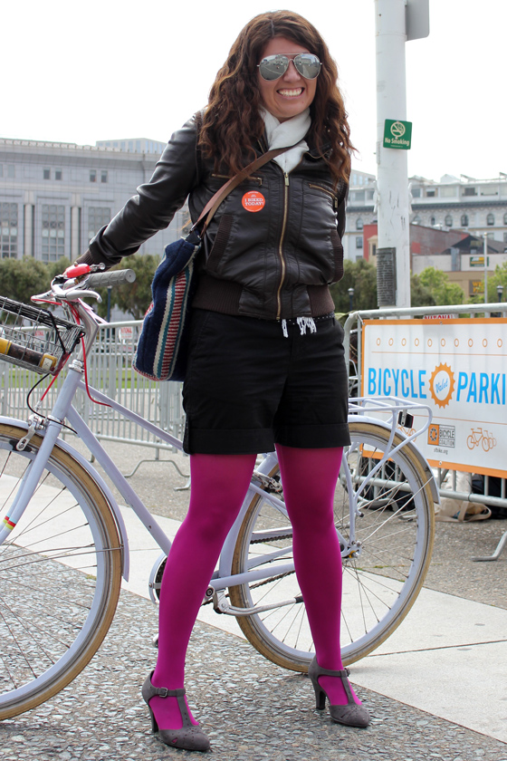 bike pretty, bikepretty, pretty bike, girls on bikes, outfit ideas, cycle style, fashion bike, bike fashion, bike chic, bike style, girl on bike, cycle chic, bike to work, bike to work day, san francisco, street style, magenta tights, biking in heels, cute bike girl, lavender bike, public bikes