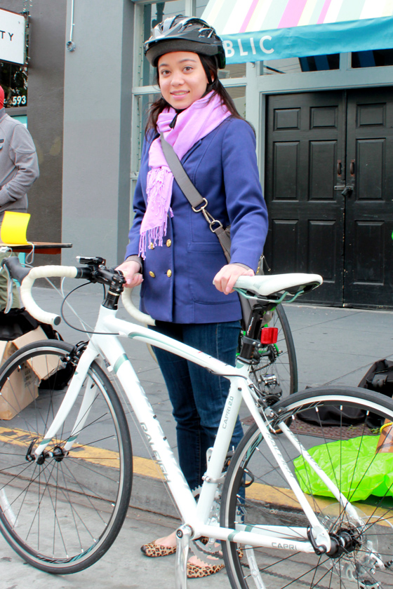 bike pretty, bikepretty, pretty bike, girls on bikes, outfit ideas, cycle style, fashion bike, bike fashion, bike chic, bike style, girl on bike, cycle chic, bike to work, bike to work day, san francisco, street style, skinny jeans, raleigh capri, white bike, pink scarf, leopard flats, blue pea coat, rowena, cute bike girl