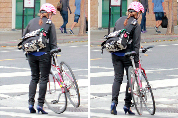 bike pretty, bikepretty, pretty bike, girls on bikes, outfit ideas, cycle style, fashion bike, bike fashion, bike chic, bike style, girl on bike, cycle chic, bike to work, bike to work day, san francisco, street style, skinny jeans, biking in heels, cool bike helmet, nutcase helmets, cute bike girl