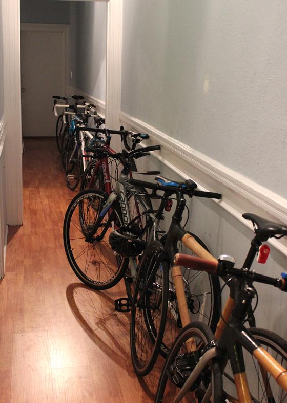 bike storage, lots of bikes, stacks of bikes, where to keep your bikes, where should i put my bike, bike locker, bike garage, bike room, bikes in the living room, bikes in the hallway, bikes in the garage, bike storage around the world