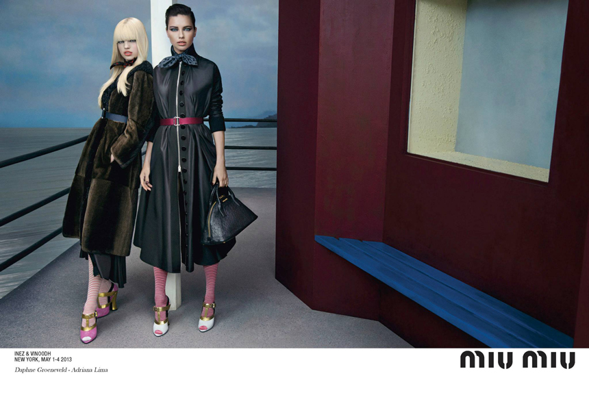 bike fashion, inez vinoodh, prada, bikes, bikes in fashion, fashion ad, miu miu, fall winter 2013, Womenswear Campaign, bike adriana lima, cycle chic, bike pretty, cycle style, high fashion bikes, bike snob, georgia may jagger, designer, designer bike, skirt bike, girl on bike