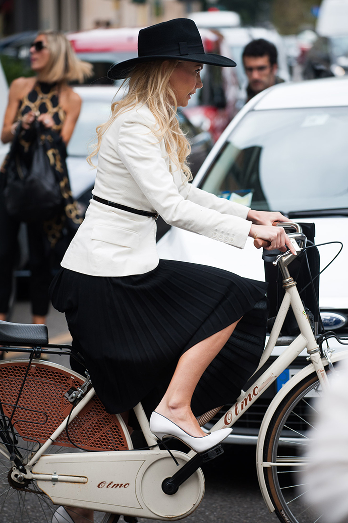 milan fashion week, spring summer 2014, street style, milan street style, fashion week, mfw, ss14, milan, olmo bike, bike pretty, bikepretty, pretty bike, cycle style, fashion bike, bike fashion, bike chic, bike style, cycle chic, outfit ideas