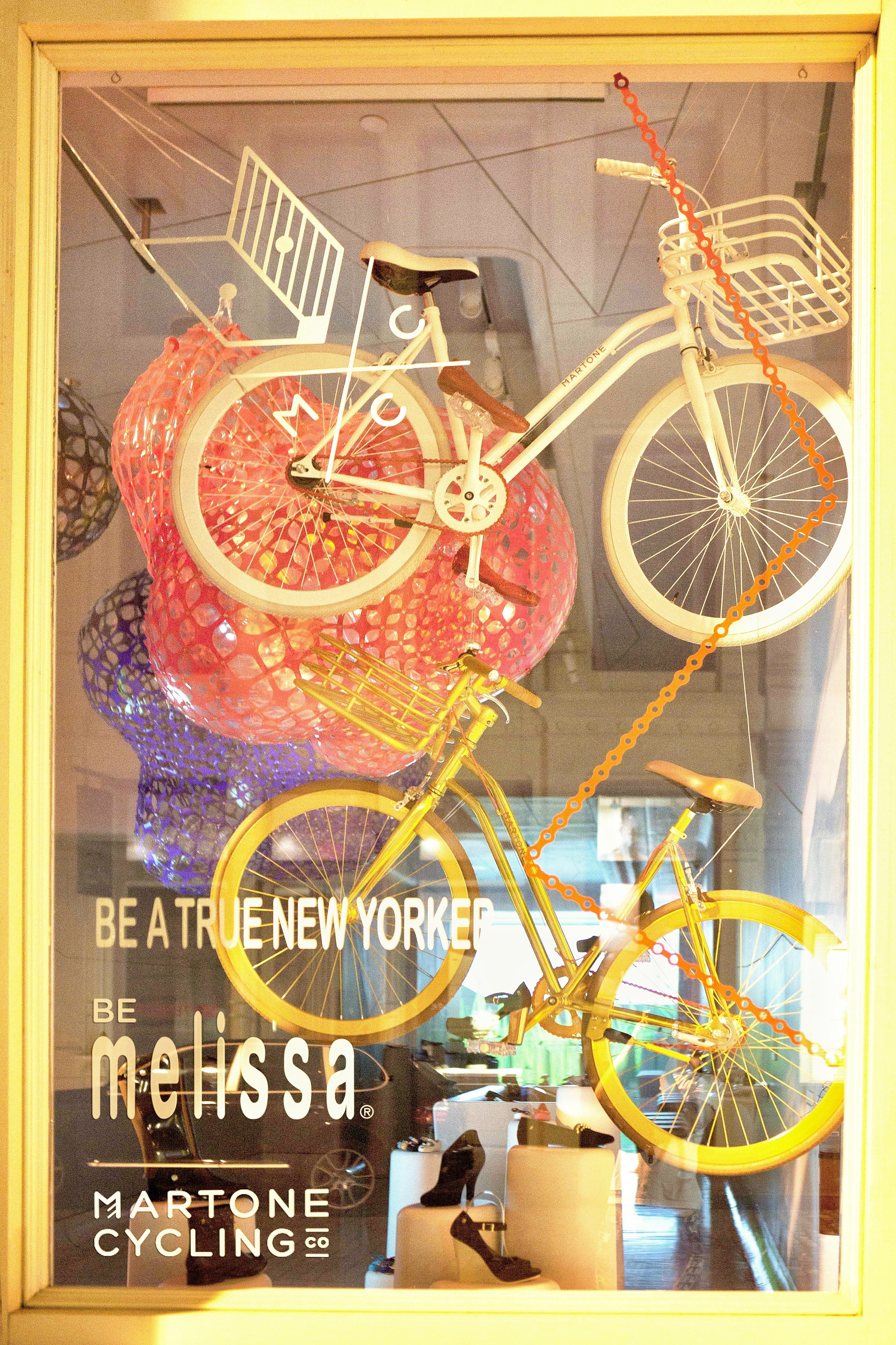 bike pretty, bikepretty, pretty bike, girls on bikes, cycle style, fashion bike, bike fashion, bike chic, bike style, cycle chic, martone, melissa, melissa shoes, martone cycling co, new york, be melissa, galeria melissa, bike in heels, be a true new yorker, window display