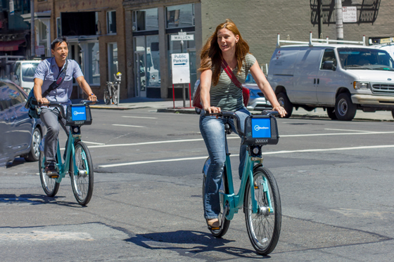 San Franciscans enjoying the Bay Area Bike Share on the first day of launch