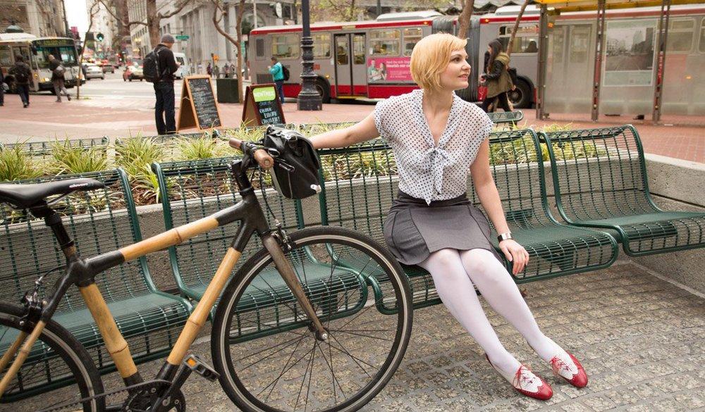 Bamboo Bike and a BetaBrand Bike To Work Skirt