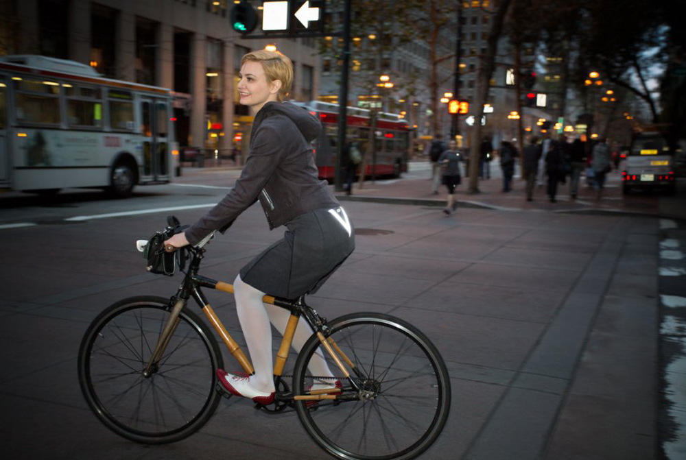 Reflective trim on the bike to work skirt