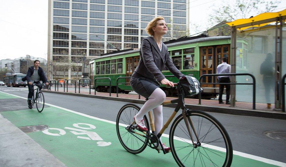 Stylish bike commuters on the Market Street bike lane