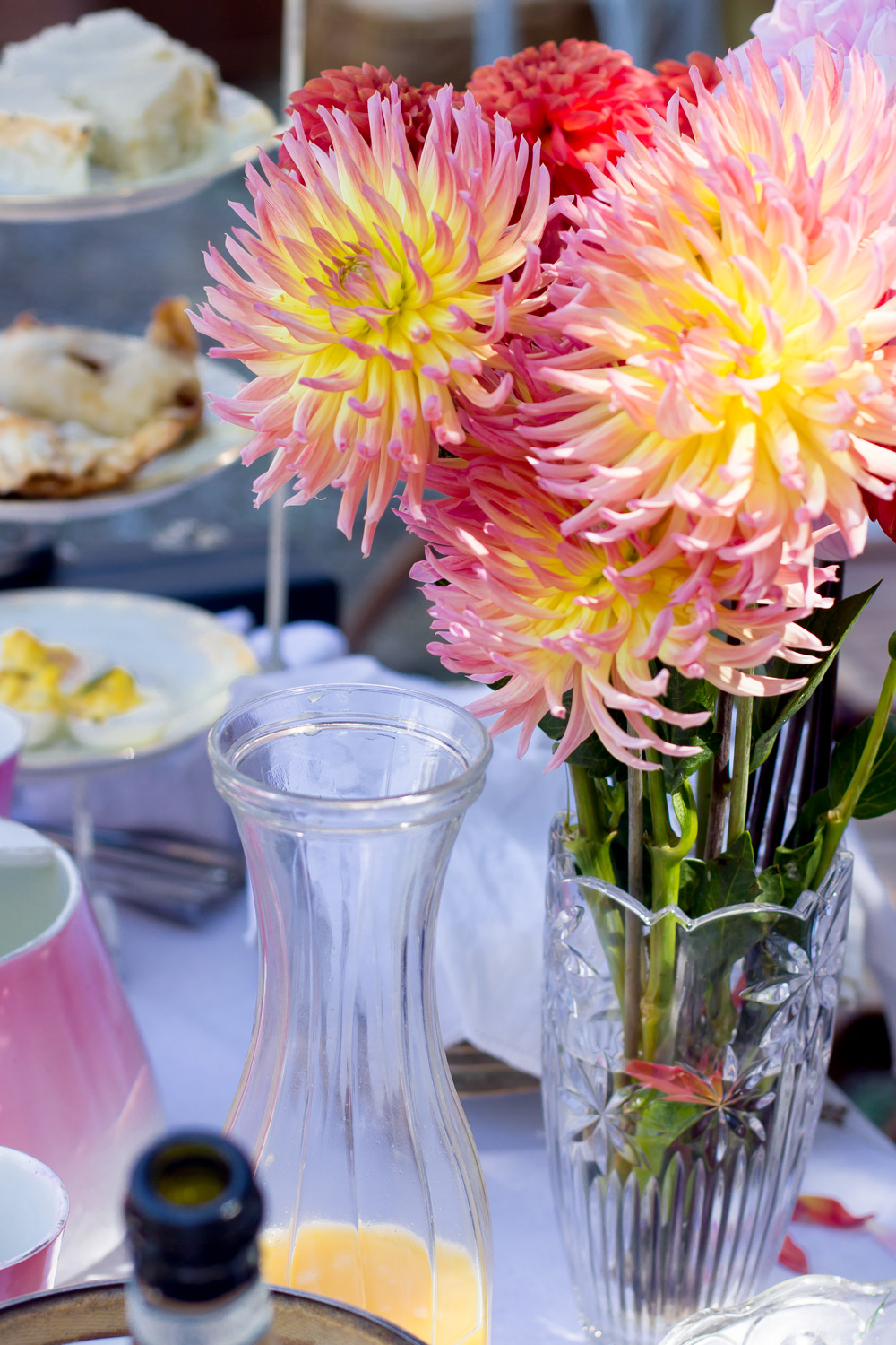 Dahlias and champagne.