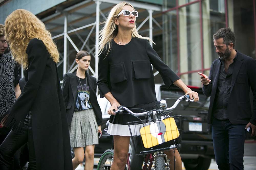 Casting director & Tales of Endearment blogger Natalie Joos always gives good bike. Photo: Ryan Kibler for WWD, NYC.