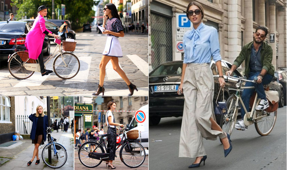 Bikes followed stylish ladies EVERYWHERE at fashion week. Left trio: Craig Arend of Altamira NYC for the New York Times, Milan & London; right image: MIStreetBrowser in Milan.