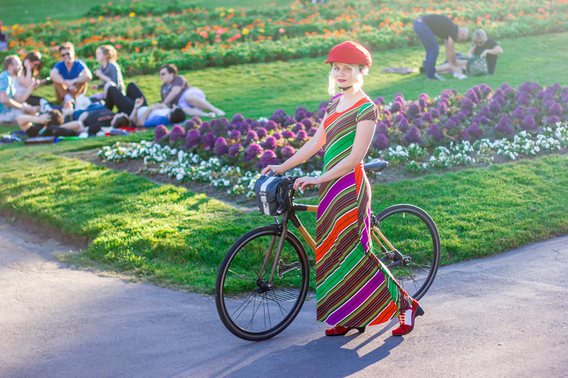 how to bike in a long dress