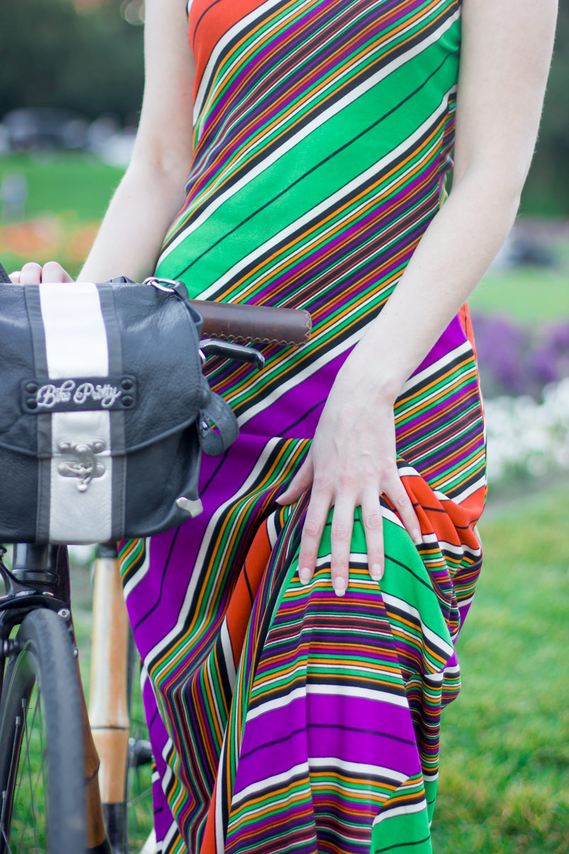 Bike Pretty Handlebar Satchel in Black and Silver | Thrifted Diagonal Striped Maxi Dress, similar to this one or this less expensive version.
