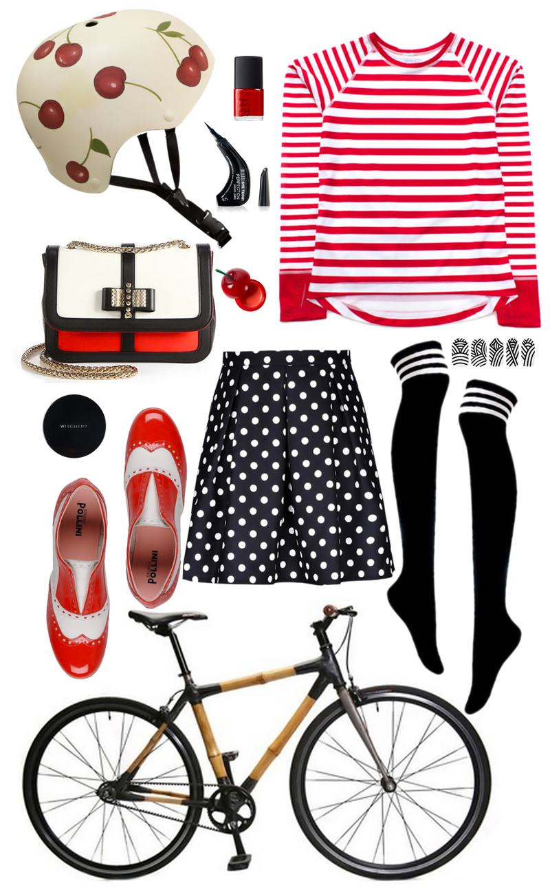Belle Handpainted Cherry Helmet // Nars Cherry Red Nail Polish // Milani Precision Eyeliner // Camille Long Sleeve Jersey // Mummy Nail Wraps // Over The Knee Socks // The Bambeauty Bicycle // Pollini Two-Tone Patent Oxfords // Polka Dot Skirt // Witchery Compact // Mini Cherry Lip Balm // Christian Louboutin Tricolor Bag
